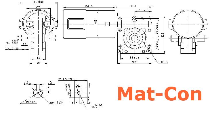 measurements geared motor Longway 89ZYT